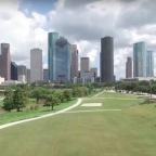 DJI Phantom 3 Advanced drone flying over Houston